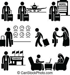 Business Trip Businessman Travel - A set of human pictogram ...