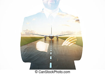 Business trip concept - Businessman on abstract background...