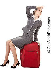Business trip - office manager, a girl in business attire