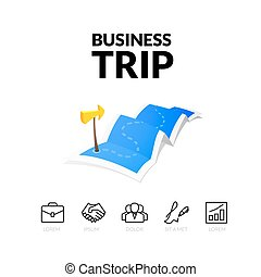 Business trip tour concept logo, long route in travel map with guide marker