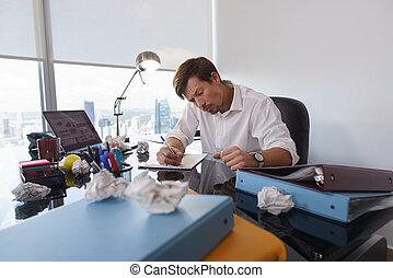 business, triste, écrire, erreurs, papier, lettre, confection, essayer, homme
