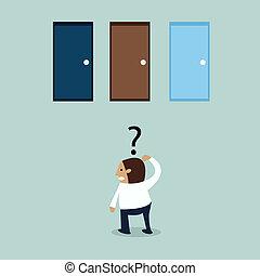 business, trois, douteux, portes, devant, homme