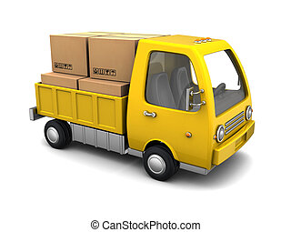business truck - 3d illustration of small business truck...