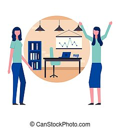 business two woman in the workspace office