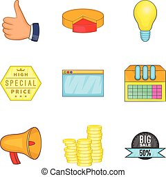 Business undertaking icons set, cartoon style - Business...