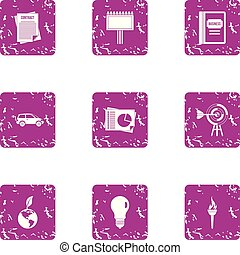 Business undertaking icons set, grunge style - Business...