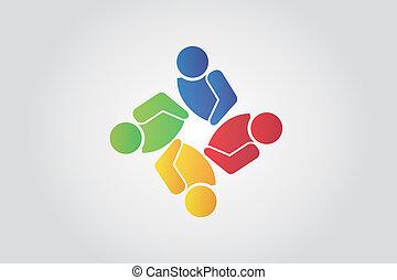 business, unité, collaboration, logo, amitié, carte identification