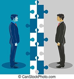Business unity and cooperation. Business concept vector illustration