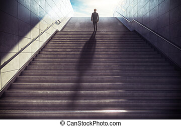 Business upward. 3D Rendering - Man climbs the stairs in the...