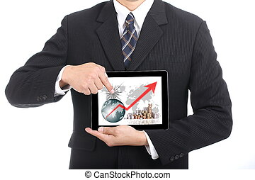 Business used finger touch growing graph