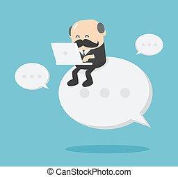 business, utilisation, fonctionnement, séance, homme aîné, texte, cahier