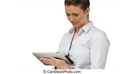 business, utilisation, tablette, femme, informatique
