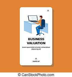 Business Valuation Service Employee Man Vector Illustration