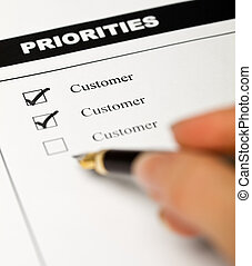Business values - customer oriented business concept with employee survey form