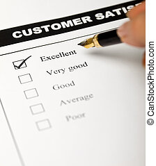 Business values - satisfied customers concept with a survey form