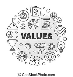 Business Values vector round minimal outline illustration