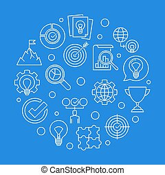 Business Values vector round outline illustration