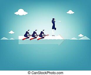 business, vecteur, concept, collaboration, illustration., rowing.