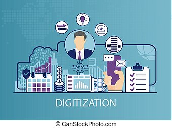 business, vecteur, digitization, illustration, concept