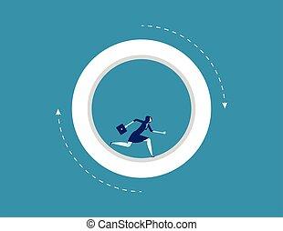 business, vecteur, femme affaires, courant, wheel., concept, intérieur, illustration.