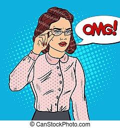 business, vecteur, inquiété, eyeglasses., pop, illustration, art, femme