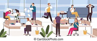 business, vecteur, ouvriers, chaos, boss., panicing, ou, endroit, dormir, fâché, bureau., date limite, travail, paresseux, accentué, concept, problème