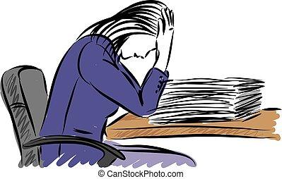 business, vecteur, papier, accentué, travail, illustration, femme