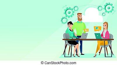 business, vecteur, réunion, illustration., bureau