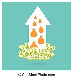 Business vector arrow silver dollar higher  growth progress