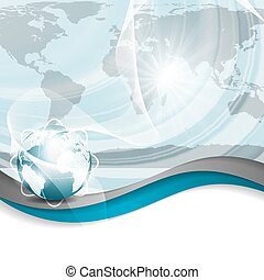 Business vector blue silver background global concept