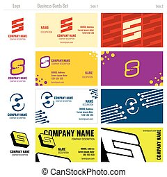 Business vector card templates with S logo