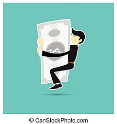 Business vector Man hugging silver shiny suit on a blue background