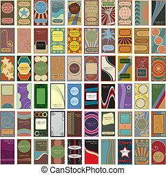 business, vendange, 60, vecteur, retro, cartes