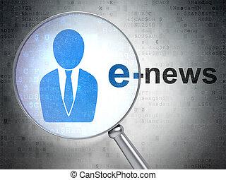 business, verre, optique, e-news, nouvelles, concept:, homme