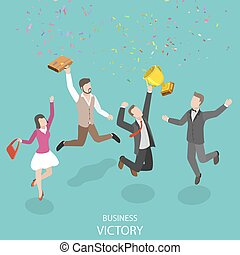 Business victory flat isometric vector concept.