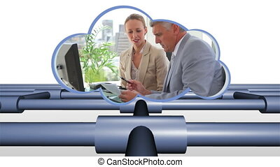 business, vidéos, nuage