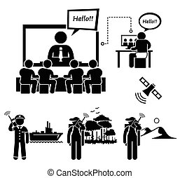 A set of human pictogram representing business video conferencing from office and home. It includes people using satellite phone at sea, deep forest, and deep mountain area.