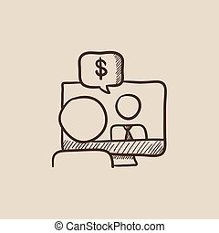 Business video negotiations sketch icon.