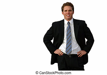 Business vision 9 - Brown haired business man wearing black...