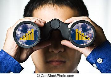 Business vision - A businessman looking through binoculars, ...
