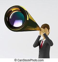 Business Vision - Businessman expanding his business vision...