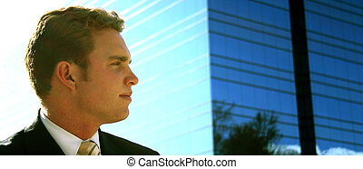 business vision - businessman looking right