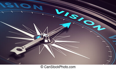 Business Vision - Compass with needle pointing the word...