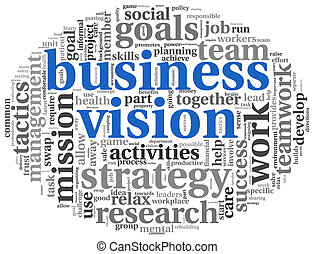 Business vision concept in word tag cloud