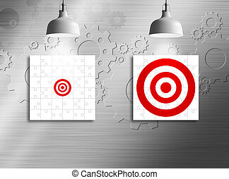 Business vision concept of jigsaw puzzle with small and big target sign and ceiling light on metal wall
