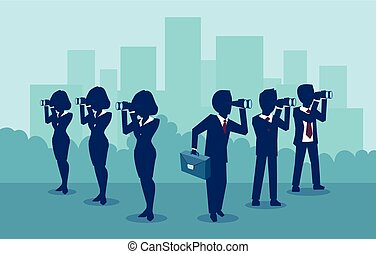 Vector of a business men and women searching for success looking on opposite directions.