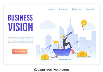 Business vision flat vector landing page template. Businessman with telescope in boat swimming in sea of financial opportunities metaphor. Searching for innovative ideas website page design layout.