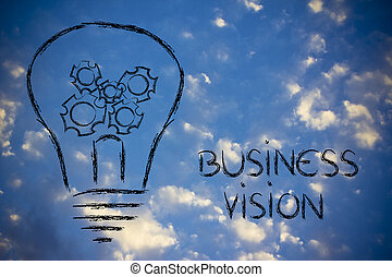 business, vision, lightbulb, à, gearwheels