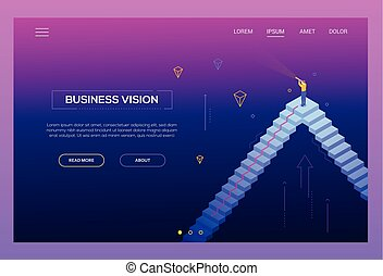 Business vision - modern isometric vector website header