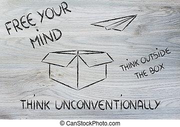 business, vision:, penser, dehors, boîte